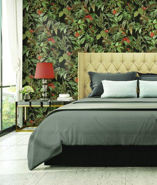 Design Vliestapete Palmen Kranich Stickoptik schwarz grün