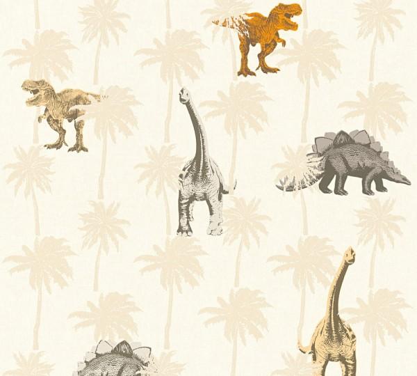 Kinder Vliestapete Dinosaurier Dinos creme beige orange
