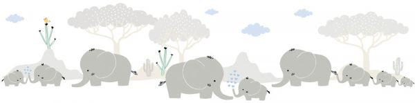Selbstklebende Bordüre Elefanten Safari 5,00m x 0,155m