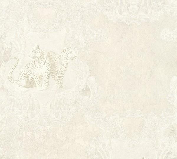 Vliestapete Leoparden silber grau Glanz