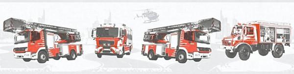 Tapeten Bordüre Kinder Struktur Feuerwehr Autos grau rot