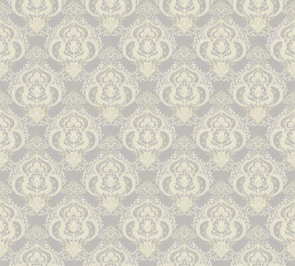 Vliestapete Barock Ornament creme grau metallic Großrolle