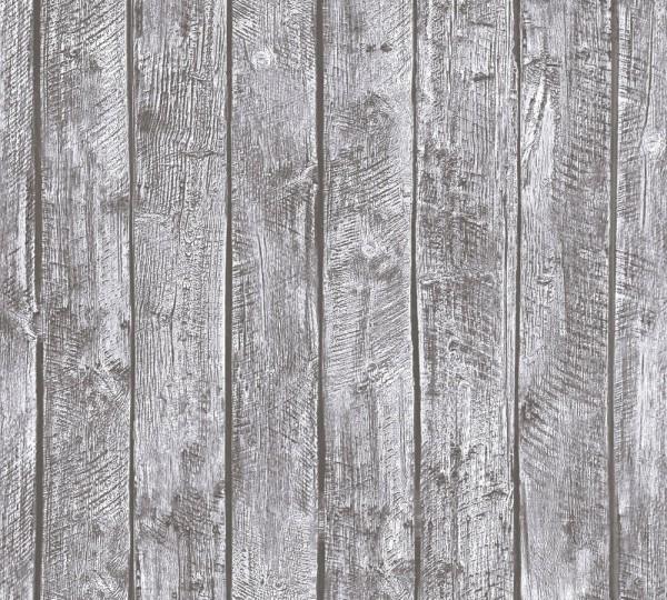 Kinder Vliestapete Holz Bretter Muster grau