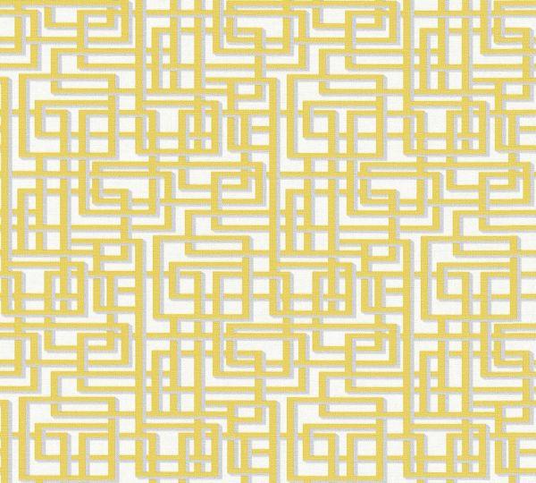 Labyrinth Grafik Vlies Tapete gelb grau weiß