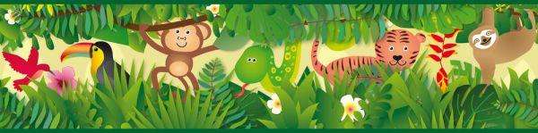 Selbstklebende Bordüre Dschungel Tiere grün bunt 5,00m x 0,155m