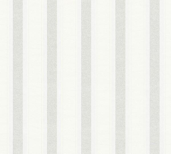 Vliestapete Streifen weiß silber Glitzer A.S Création Neue Bude 2.0 Klara