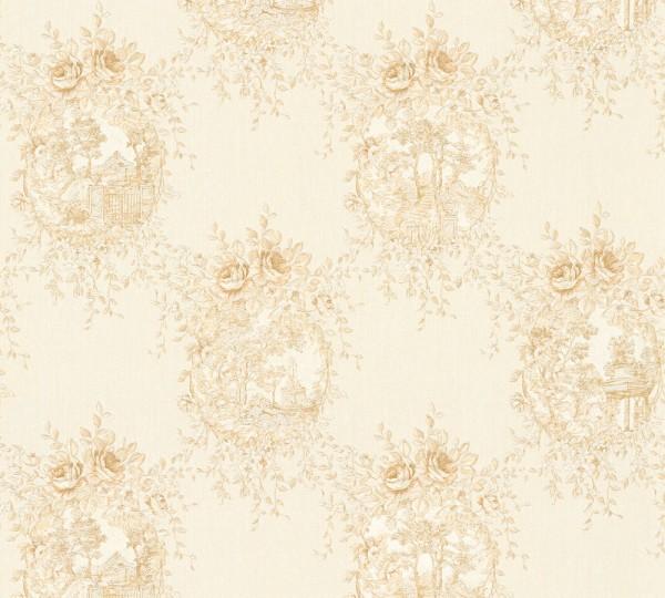 Vliestapete Blumen Landhaus creme beige Chateau 5