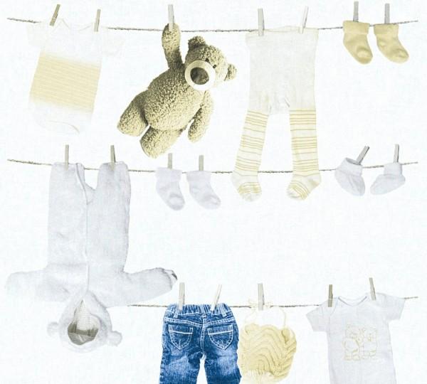 Kinder Vliestapete Wäscheleine Teddy Kleidung weiß beige