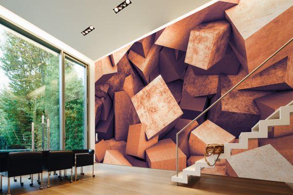 Fototapete Digitaldruck 3d Betonblöcke rost braun 255 x 350 cm