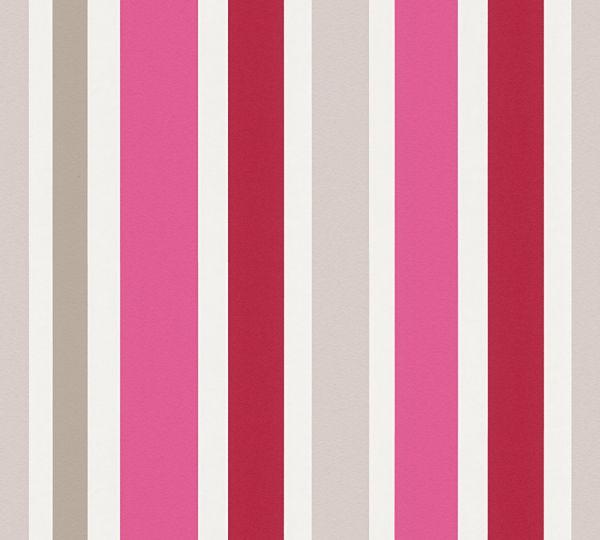 Esprit Kids Streifen Vliestapete grau pink rot