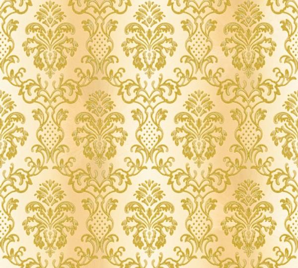 Vliestapete Barock Ornament creme gold glanz
