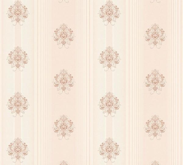 Vliestapete Streifen Barock Floral creme rosa