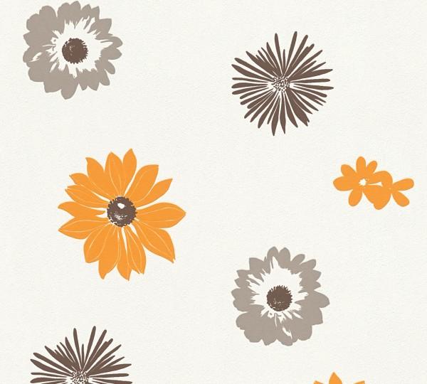 Vlies Tapete Retro Blumen Flower Power creme weiß orange braun