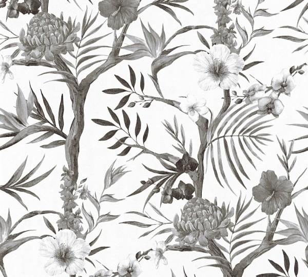 Blumen Vliestapete schwarz weiß A.S Création Neue Bude 2.0 Carlos