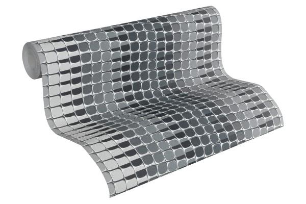 Vliestapete Retro Mosaik Streifen grau by Mac Stopa