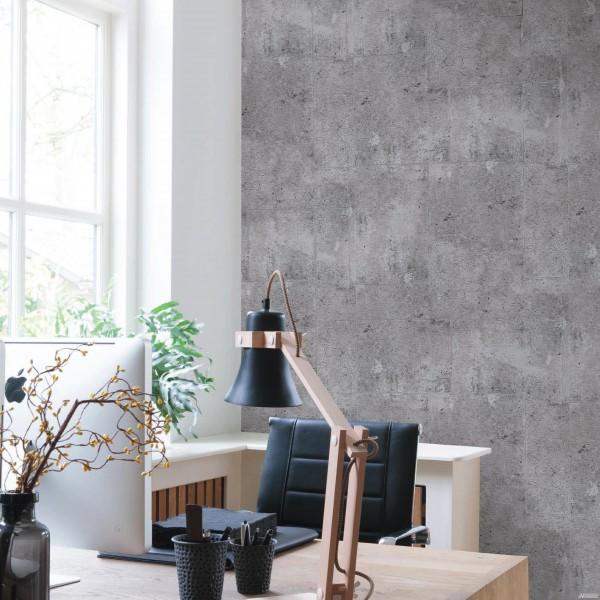 Vliestapete Beton Steinwand grau