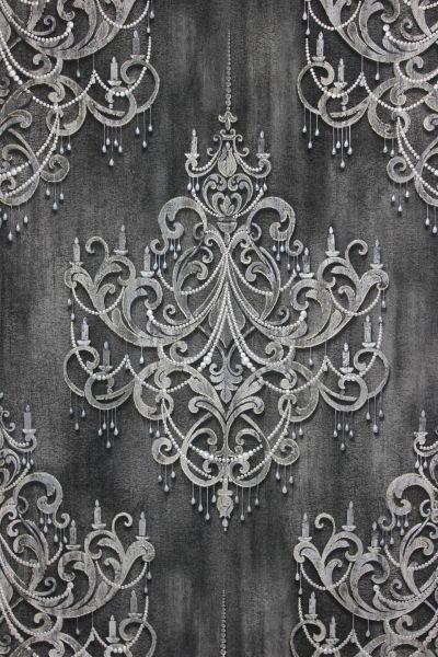 Vliestapete Kronleuchter Barock Ornament Perlen Muster klassisch schwarz grau gold
