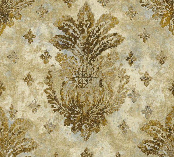 Vliestapete Boho Floral Ornament beige gold metallic