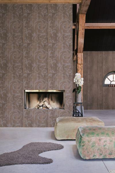 Vlies Tapete Antik Holz rustikal Ornament Barock braun grau