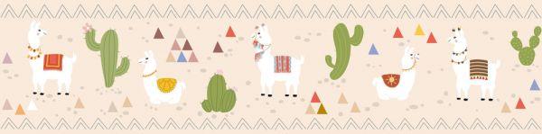 Selbstklebende Bordüre Lamas Wüste Kaktus 5,00m x 0,155m
