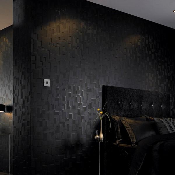Vlies Tapete Struktur schwarz kariert seidenglänzend geometrisch