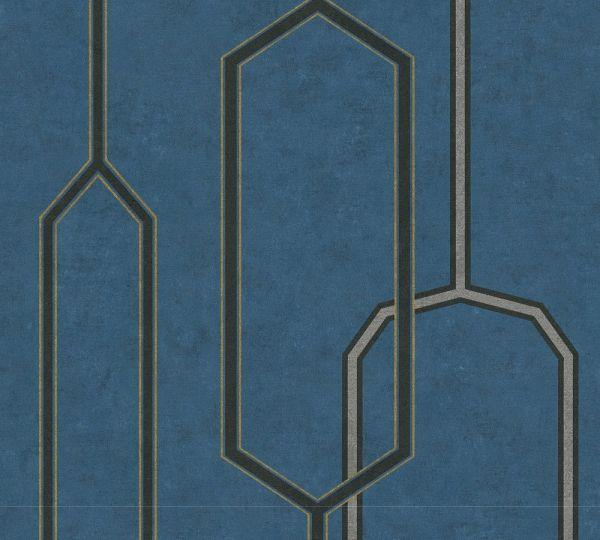 Vliestapete grafisches Retro Muster petrol blau