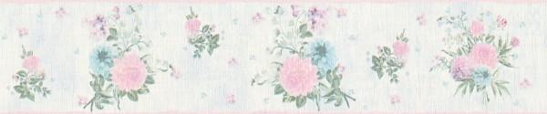 Tapeten Bordüre Blumen hellblau rosa grün Djooz 2