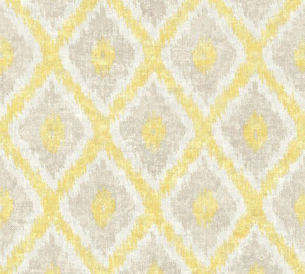 Vliestapete Ethno Muster Rauten gelb beige