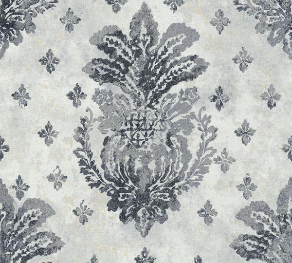 Vliestapete Boho Floral Ornament schwarz grau metallic