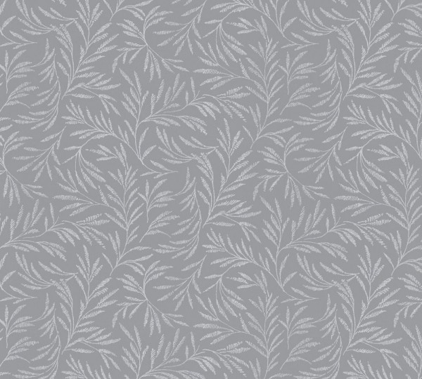 Vliestapete Blätter Zweige grau silber glanz