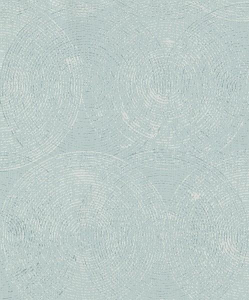 Vliestapete Retro Kreise pastellblau silber glanz matt