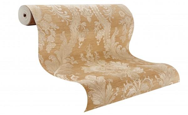 Hochwertige Vliestapete Barock Ornament Stickoptik beige gold glänzend