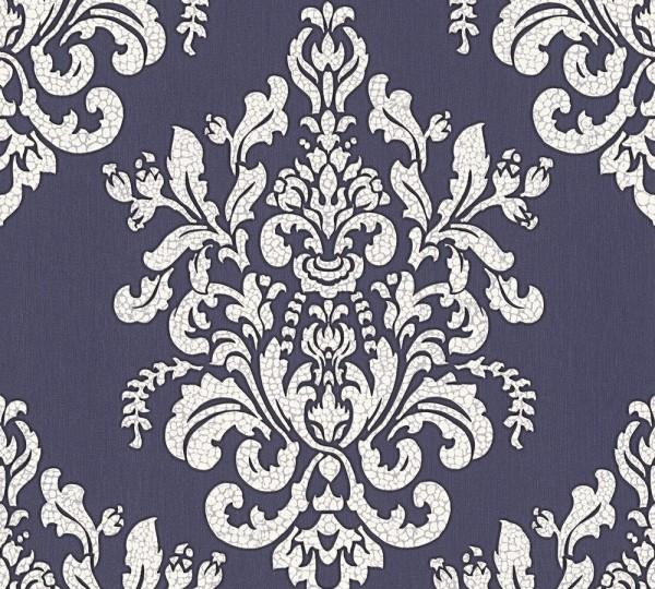 Vliestapete Barock blau grau