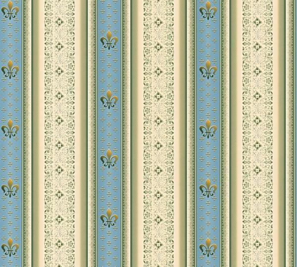 Vliestapete Streifen Heraldik Lilie blau metallic