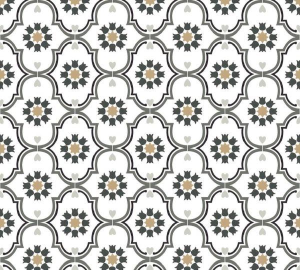 Vliestapete Ornamente Sterne Floral weiß grau