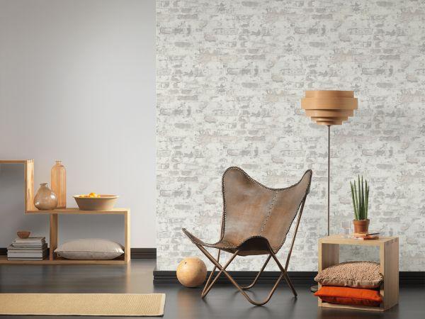 Bruchstein Mauer Vliestapete grau weiß