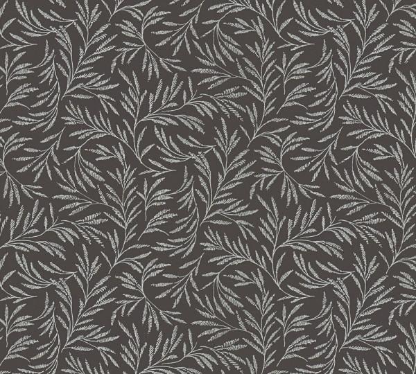 Vliestapete Blätter Zweige schwarz grau glanz