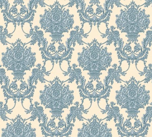 Vliestapete Barock Ornament beige blau metallic Chateau 5