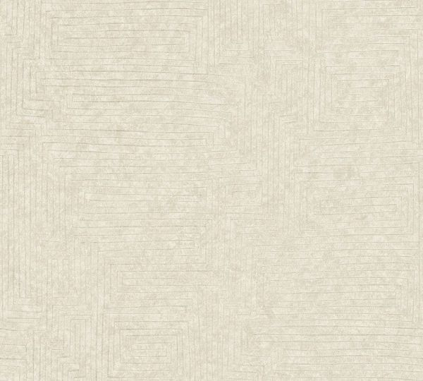 Vliestapete Labyrinth Muster creme weiß