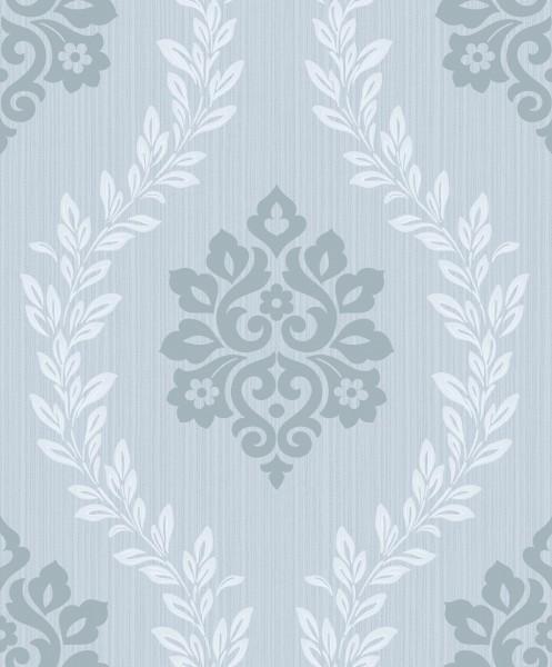 Vliestapete Barock Ornament pastellblau glanz