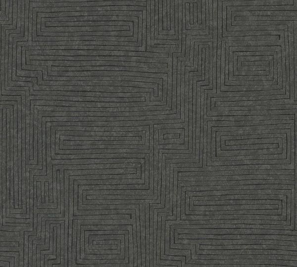 Vliestapete Labyrinth Muster schwarz