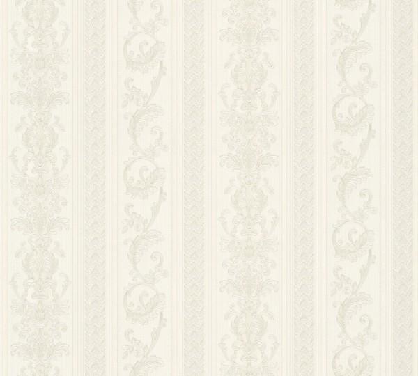 Vliestapete Ranken Streifen Optik creme silber glanz