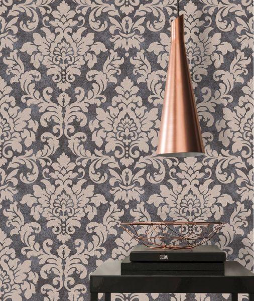 Barock Ornament Vliestapete schwarz beige Glitzer