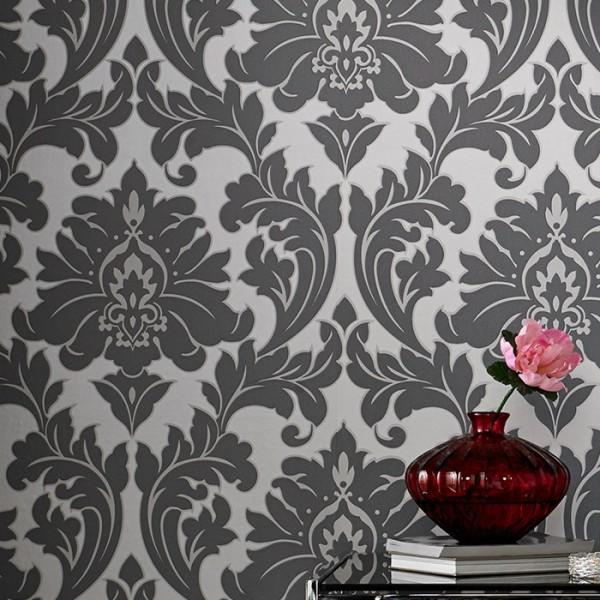 Vliestapete Barock Ornament metallic effekt silber grau