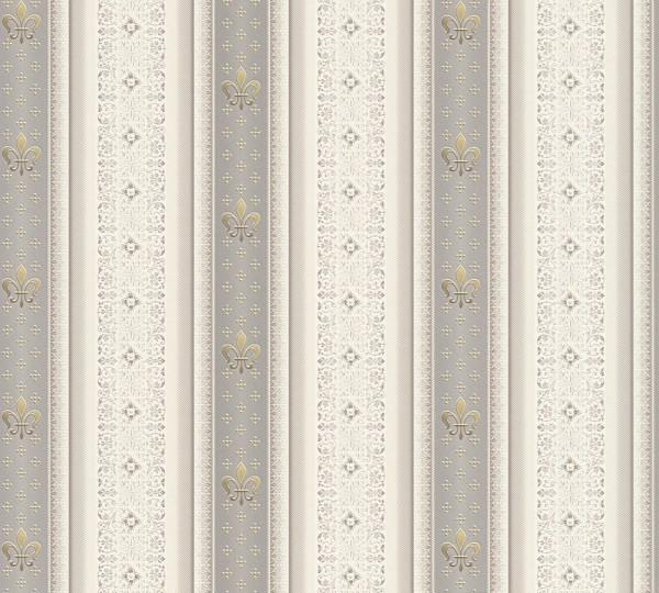Vliestapete Streifen Heraldik Lilie silber grau metallic