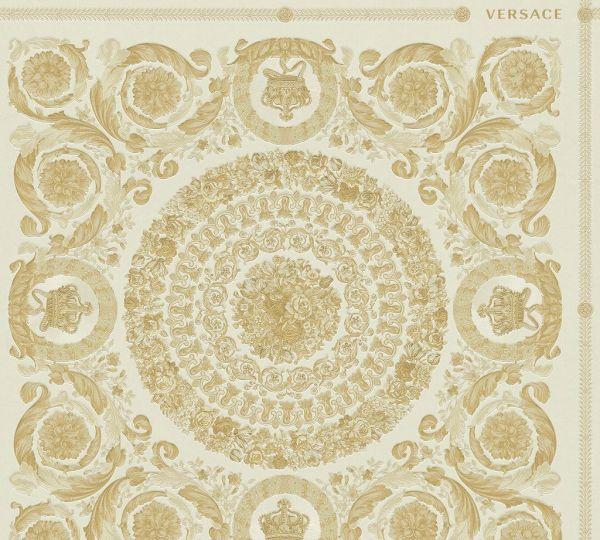 Florales Ornament Kacheln Tapete beige gold metallic Versace