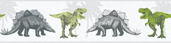 Tapeten Bordüre Kinder Dinosaurier Dinos weiß grau grün