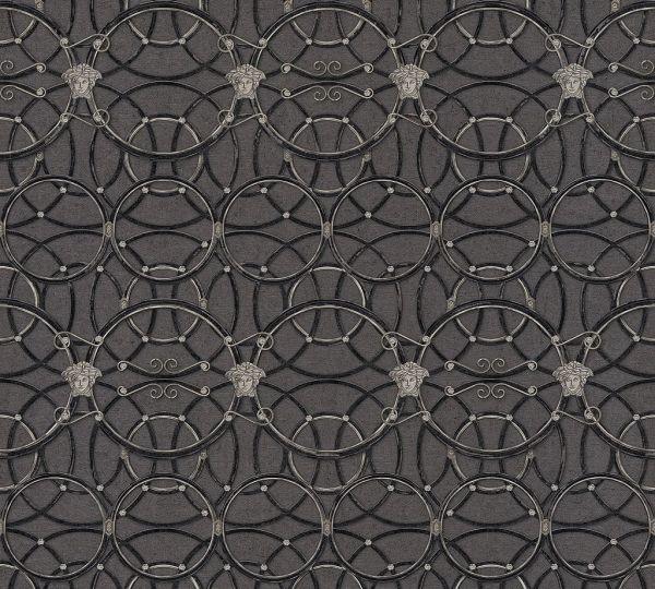 Tapete grafische Kreise Medusa schwarz metallic Versace