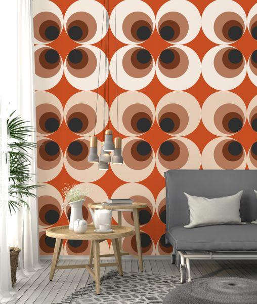 Vlies Fototapete Retro Grafik Kreise 70er orange 200x280cm