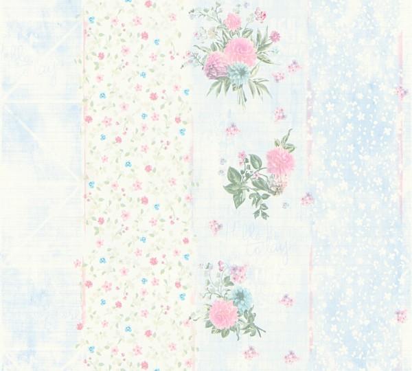 Vliestapete grafisch Streifen Blumen Schrift blau